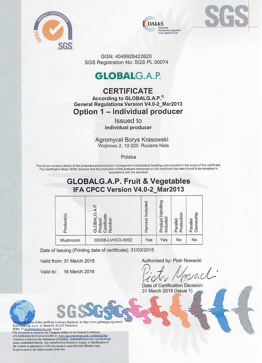 pieczarki certyfikat